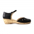 Sandale negre de dama cu talpa joasa ortopedica piele naturala