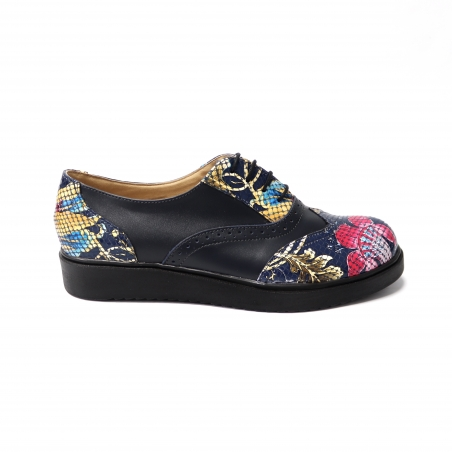 Pantofi albastri cu imprimeu multicolor pentru femei