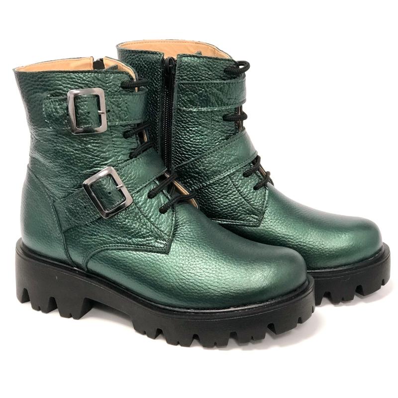 ghete dama verzi din piele naturala cu siret, fermoar si catarame Mateo Shoes