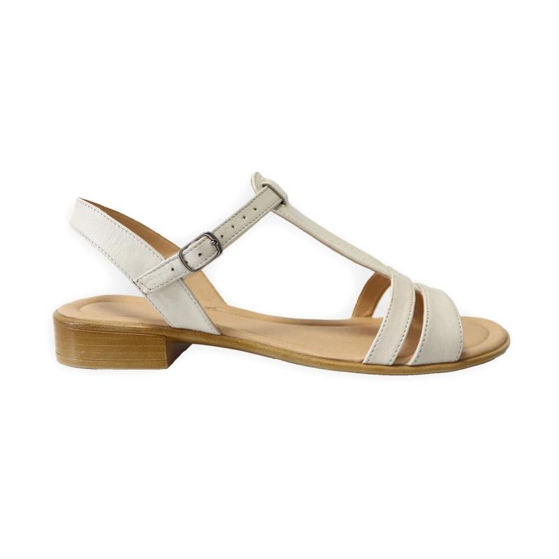 Sandale bej cu talpa joasa pentru femei din piele naturala