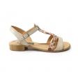 Sandale bej cu imprimeu floral pentru femei Himera15, Piele Naturala