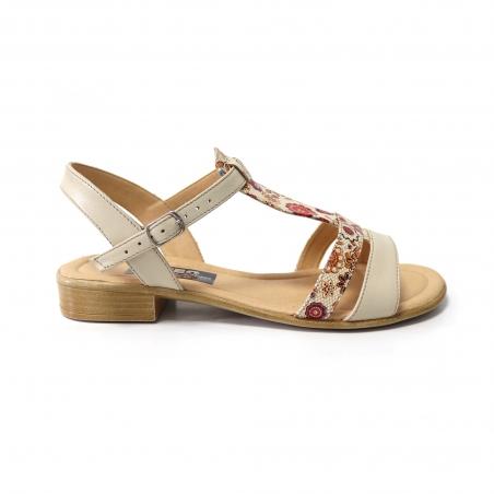 Sandale bej cu imprimeu floral si talpa joasa pentru femei din piele naturala