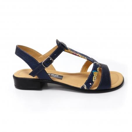 Sandale albastre cu imprimeu floral si talpa joasa pentru femei din piele naturala