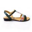 Sandale verzi cu imprimeu floral pentru femei Himera15, Piele Naturala