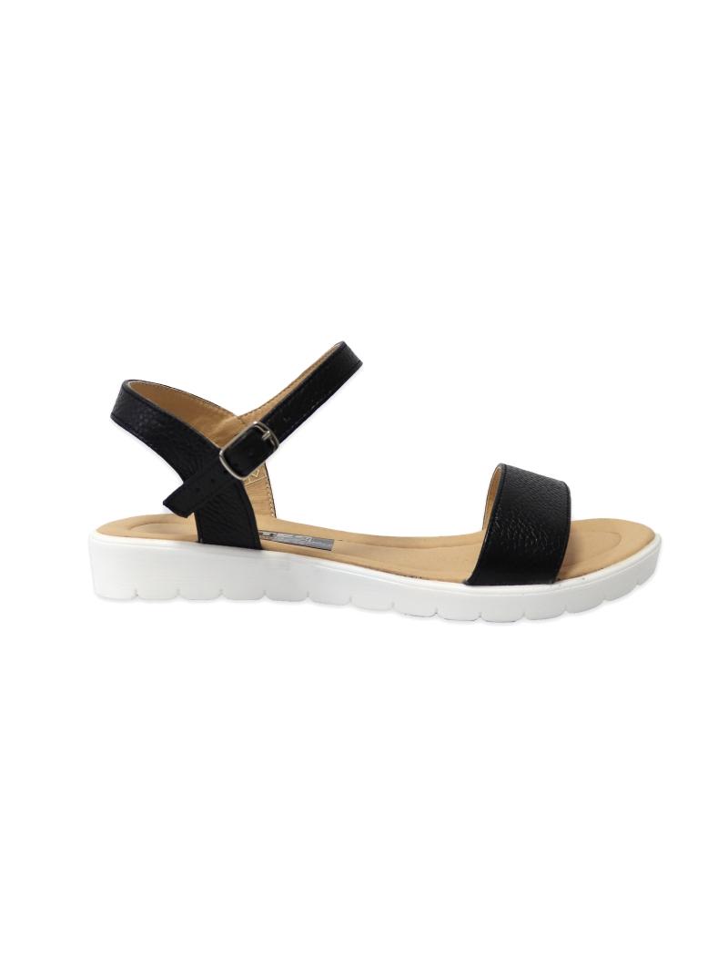Sandale negre pentru femei cu talpa joasa Naiade03, Piele Naturala