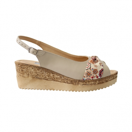 Sandale cu platforma bej cu floricele Amore50, Piele Naturala