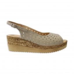 Sandale cu platforma bej perforate Amore50, Piele Naturala