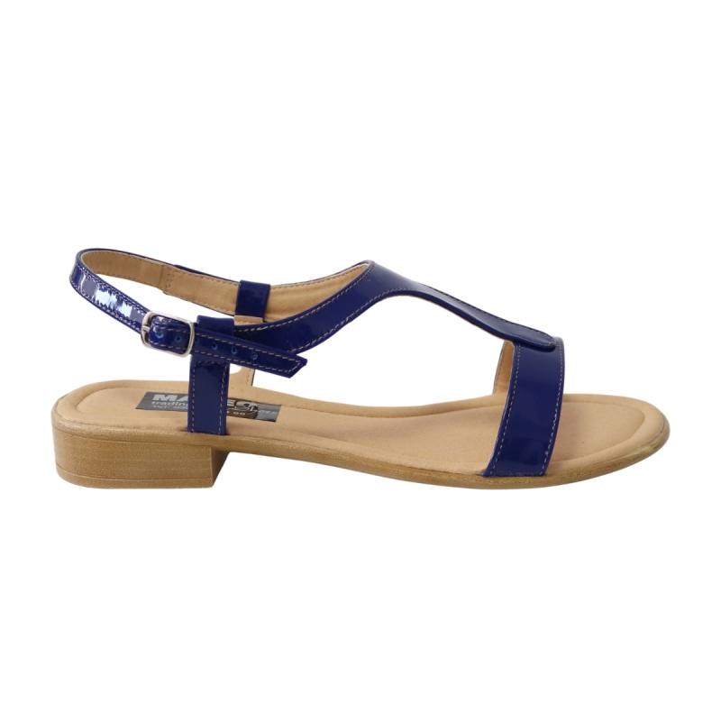 Sandale albastre pentru femei, talpa joasa Himera16, Piele Naturala