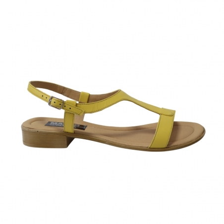 Sandale galbene pentru femei, talpa joasa Himera16, Piele Naturala