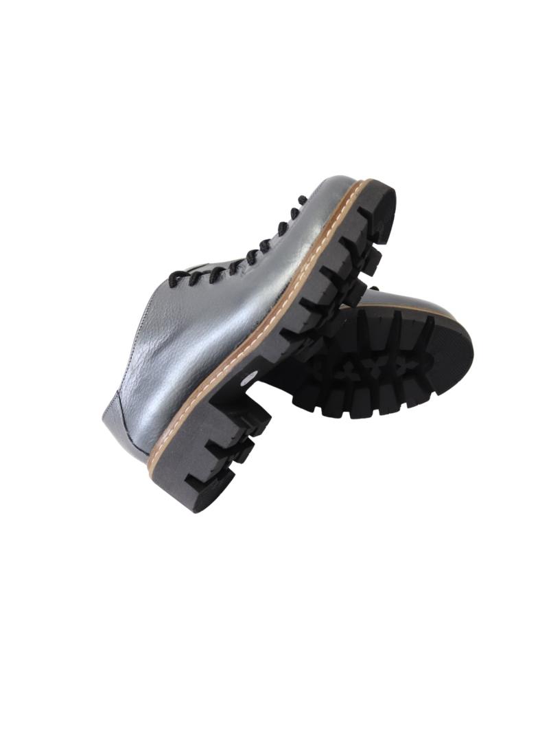 Pantofi gri pentru femei cu siret si talpa groasa Louisa09, Piele Naturala