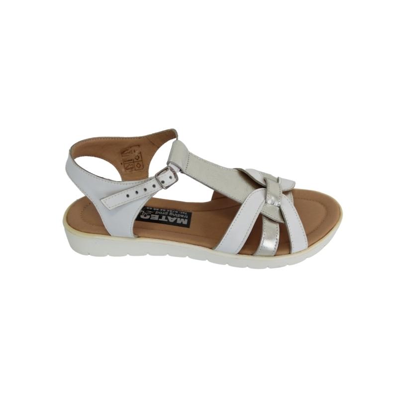 Sandale dama albe cu argintiu cu talpa joasa