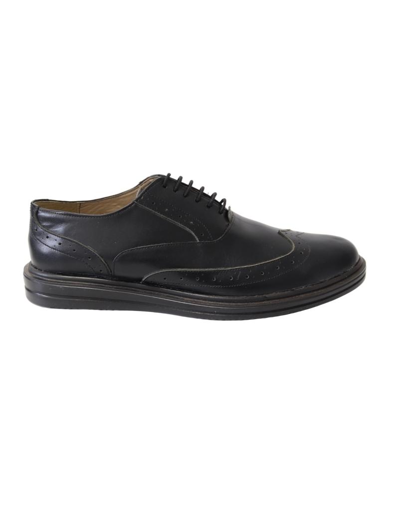 Pantofi casual / office barbati negri Neros81, Piele Naturala