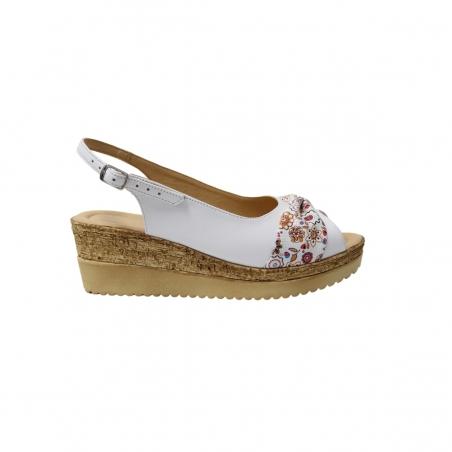 Sandale cu platforma albe cu floricele Amore50, Piele Naturala