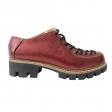 Pantofi rosii cu siret si talpa groasa Louisa, Piele Naturala