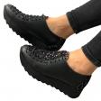 Pantofi dama sport cu siret negri cu imprimeu multicolor