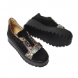 Pantofi cu Platforma Negri cu Imprimeu Multicolor si Siret din Piele Naturala Amanda