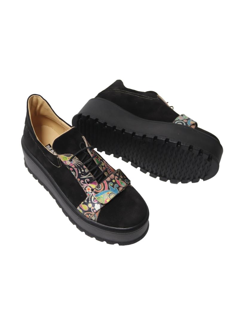 Pantofi cu Platforma Negri cu Imprimeu Multicolor si Siret din Piele Naturala Amanda, Fabricati in Romania