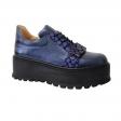 Pantofi cu Platforma Albastri cu Imprimeu Albastru si Siret, Piele Naturala Amanda