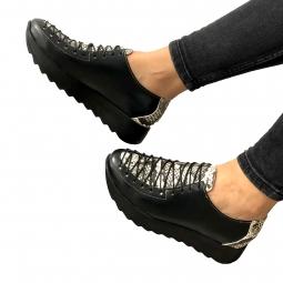 Pantofi dama sport negri cu siret din piele naturala Mateo Shoes