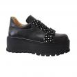 Pantofi Femei Negri cu Imprimeu cu Buline, Platforma si Siret, Piele Naturala Amanda