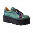 Pantofi Dama Verzi cu Imprimeu Multicolor, Platforma si Siret, Piele Naturala Amanda