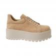 Pantofi Femei Bej cu Platforma si Siret, Piele Naturala Amanda