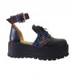 Sandale Dama Negre cu Imprimeu Multicolor, Platforma, Catarama si Siret Amanda, Piele Naturala