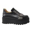 Pantofi Femei Negri cu Imprimeu Sarpe, Platforma si Siret, Piele Naturala Amanda
