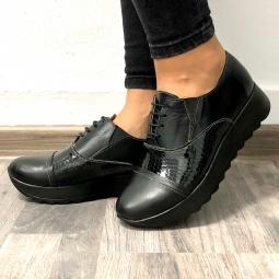 Pantofi dama comozi 202 negri din piele naturala