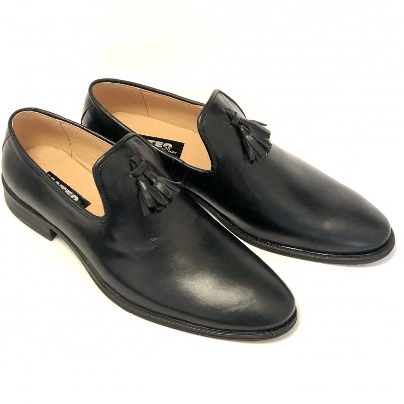 Loaferi Barbati Negri din piele naturala cu ciucuri. Loaferi Eleganti