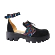 Sandale Dama Negre Piele Intoarsa cu Imprimeu Colorat, Talpa Inalta, Catarama si Siret Miruna, Piele Naturala
