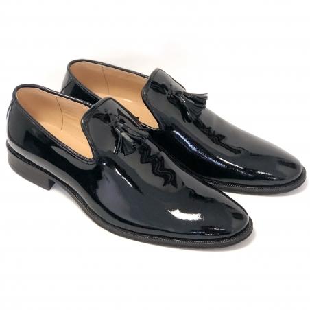 Loaferi barbati negri cu ciucuri din lac. Loaferi barbatesti din piele naturala