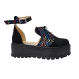 Sandale Dama Negre cu Imprimeu Multicolor, Platforma, Catarama si Siret Amanda, Piele Intoarsa
