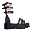 Sandale Dama Catarame Albastru Lucios, Platforma Roma, Piele Naturala