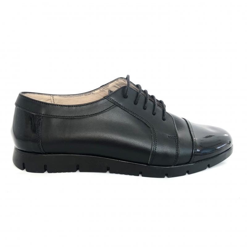 Pantofi dama casual negri cu lac si siret