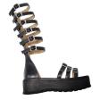 Sandale Dama Catarame Negre, Platforma Roma, Piele Naturala
