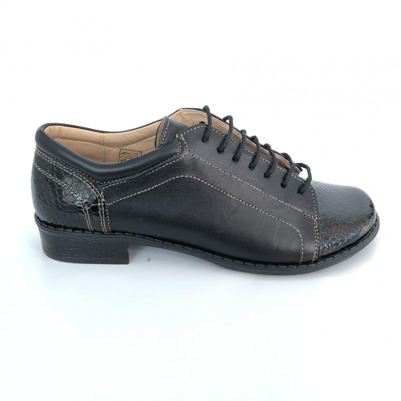 Pantofi dama lati casual cu siret din piele naturala cu lac