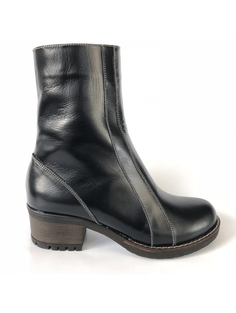 ghete dama din piele naturala negre imblanite cu toc si fermoar mateo shoes