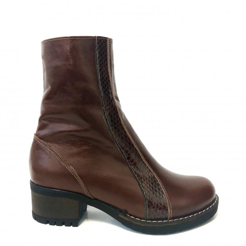 ghete dama din piele naturala maro imblanite cu toc si fermoar mateo shoes