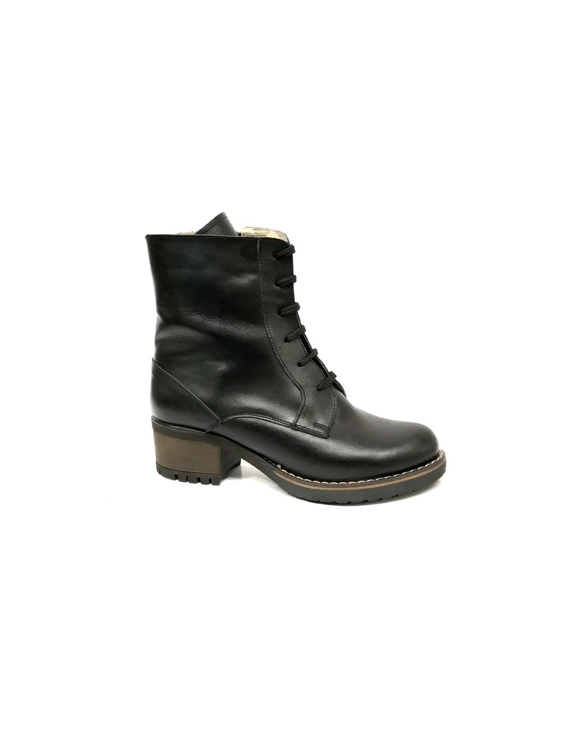 ghete dama cu toc, fermoar si siret din piele naturala negre imblanite mateo shoes