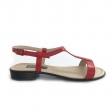 Sandale dama rosii cu talpa joasa Himera16, Piele Naturala