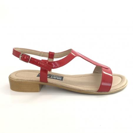 Sandale dama rosii lac cu talpa joasa piele naturala