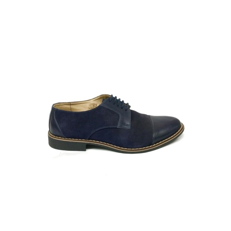 Pantofi casual barbati albastru velur piele intoarsa