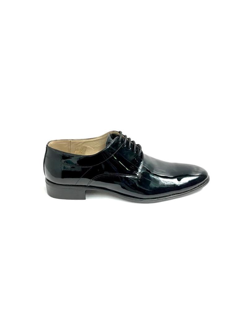 Pantofi eleganti barbati negri din lac piele naturala