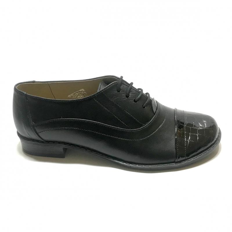Pantofi dama lati casual cu siret si lac din piele naturala Mateo Shoes