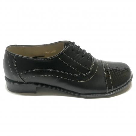 Pantofi dama lati negri cu siret si lac Enea, Piele Naturala, Cusaturi in contrast