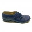 Pantofi dama lati albastri cu siret Enea, Piele Naturala, Cusaturi in contrast