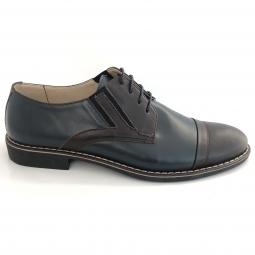 Pantofi casual barbati maro cu albastru piele naturala