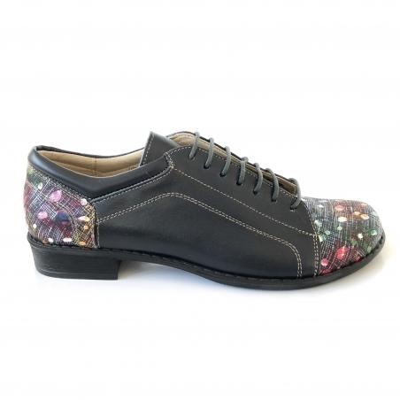 Pantofi dama albastri lati casual cu siret din piele naturala cu imprimeu colorat