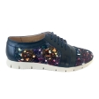 Pantofi dama sport casual cu siret, albastri cu imprimeu colorat din piele naturala